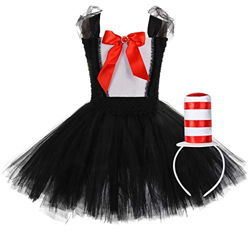 Tutu Dreams Halloween Circus Clown Costumes Kids Girls Black White Tutu Funny Dress Up (Ringmaster,Lion,Horse,Peacock Dress Up) (Clown, X-Large) ()
