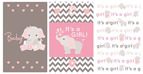 Light Pink & Gray Elephant Stickers Set of 54 Fits Miniatures Candy Bar (Miniature Shower Candy Baby Wrappers)