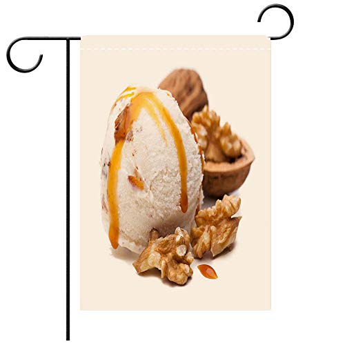 BEICICI Custom Personalized Garden Flag Outdoor Flag Scoop of Walnut ice Cream Topped with Caramel Sauce Best for Party Yard and Home Outdoor Decor