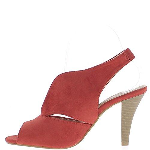 Sandales rouges à talon fin de 9cm aspect daim larges brides