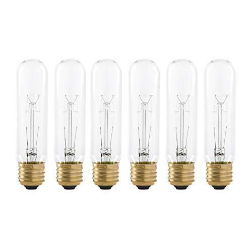 25 Watt T10 Clear Tubular Incandescent Light Bulb, 2700K Soft White, E26 Medium Base, 160 Lumens, 120V, (6 Pack)