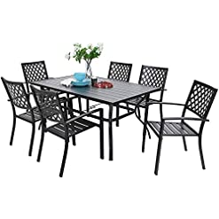 Garden and Outdoor Sophia & William Metal Outdoor Patio Dining Sets 7 Piece with Umbrella Hole – 60″ x 37.8″ Rectangle Patio Table and 6 Backyard Garden Outdoor Chairs, Black patio dining sets