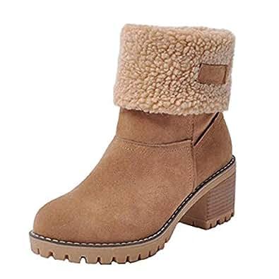 Amazon.com | Dear Time Women Mid-Calf Snow Boots Low