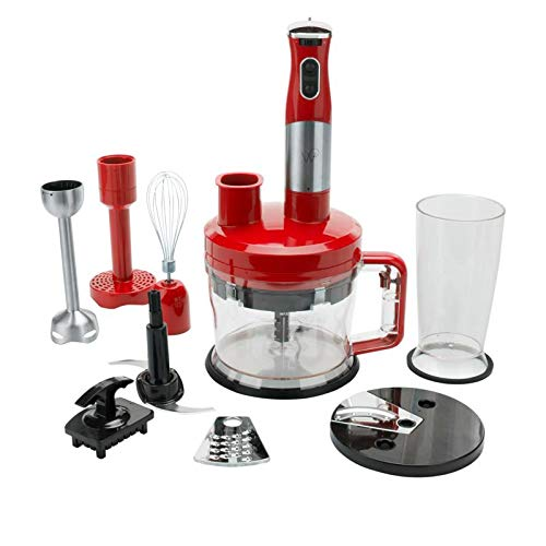 Wolfgang Puck 7-in-1 Immersion Blender with 12-Cup Food Processor - Red (Food Puck Processor Wolfgang)