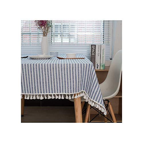 Bigfan Rose Simple Linen Tablecloth Stripe Table Cloth Rectangular Pure Color Table Cover Home Decoration,Style 5,140X220Cm