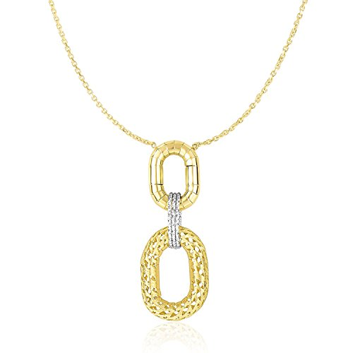 14K Two-Tone Gold Necklace with Textured Oval (Textured Oval Pendant)