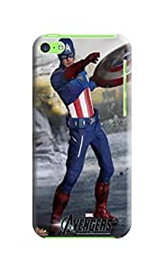 Air cushioned bumper tpu case with scratch resistant clear back panel for iPhone5c of Avengers Captain America in Fashion E-Mall