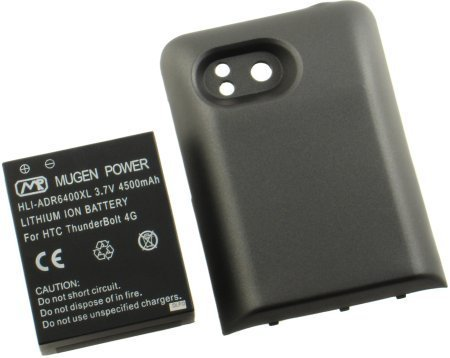 NEW MUGEN 4500mAh XL EXTENDED BATTERY + DOOR COVER FOR HTC THUNDERBOLT ADR6400 (Battery Door Htc)