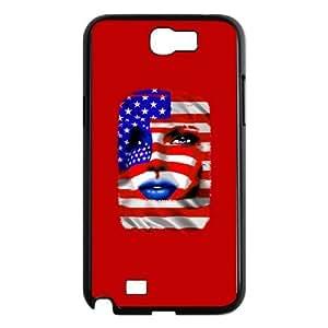 Samsung Galaxy N2 7100 Cell Phone Case Black USA Flag Girl Portrait UN7175021