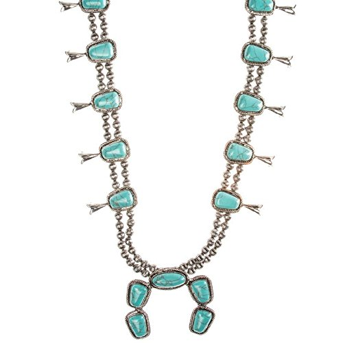 West And Co Women's And Co. Turquoise Concho Squash Blossom Necklace Silver OS (Squash Chain Necklace)