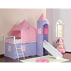 Coaster Home Furnishings Princess Castle Twin Tent Loft Bed Pink and White
