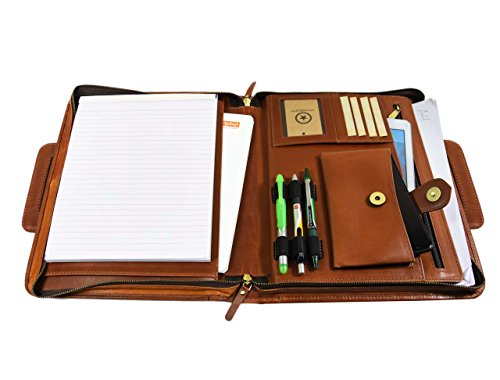 Zippered Genuine Leather Business Portfolio | Easy to Carry Organizer With Writing Pad Holder, Business Card And Pen Slots. IPAD/Tablet Holder And Flip-Closure Phone Pocket, Dark Tan by Aaron Leather