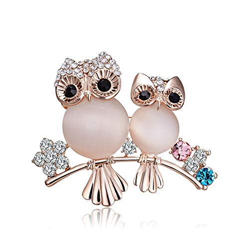 Chili Jewelry Cute Owl Brooches Lapel Pin Corsages Scarf Clips Created Cat's Eye Brooch Lapel Pins Costume Jewelry Accessories ()