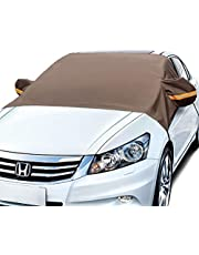 AstroAI Windshield Snow Cover, Car Windshield Cover for Ice and Snow Winter Protection for Cars and Compact SUVs Wiper Mirror Protector Windproof Cover for Snow, Ice and Frost (Brown)