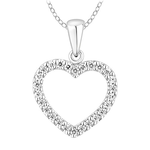 10k Heart Diamond Pendant Necklace for Womens (0.25cttw, IJ, I2-I3) 18