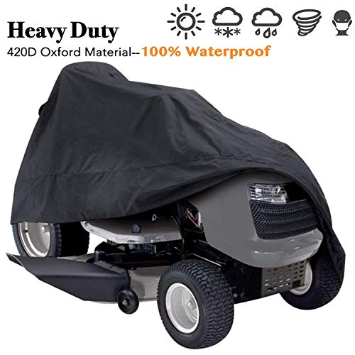 Indeedbuy Riding Lawn Mower Cover, Waterproof Tractor Cover Fits Decks up to 54″,Heavy Duty 420D Polyester Oxford, Durable, UV, Water Resistant Covers for Your Rider Garden Tractor 72″L x 54″W x 46″H