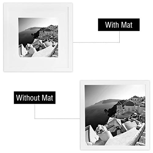 Golden State Art, Smartphone Instagram Frame Collection, 12x12-inch Square Photo Wood Frames with Photo Mat & Real Glass for 8x8-inch Pictures, White