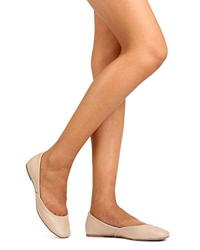 Qupid Fc40 Mujer Leatherette Square Toe Ballerina Plana - Desnudo