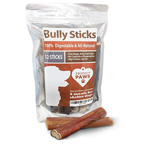 Bully Sticks for Dogs - 12 Pack of 6 Inch Bull Pizzle Sticks for Dogs from Grass Fed Free Range Cattle - 100% Digestible, All-Natural & Great for Dental Health, Safer Alternative to Rawhide Sticks