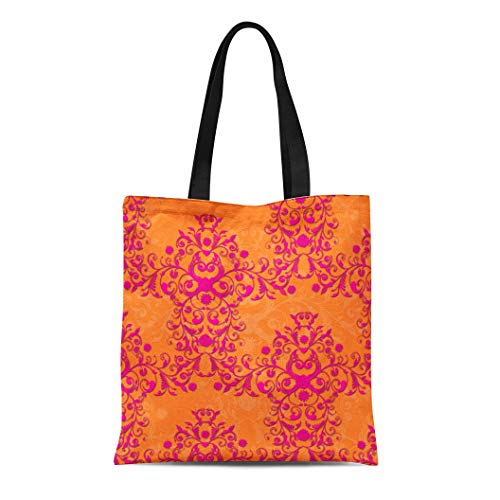 (Semtomn Cotton Line Canvas Tote Bag Floral Tangerine Tango Orange and Pink Damask Bright Girly Reusable Handbag Shoulder Grocery Shopping Bags)
