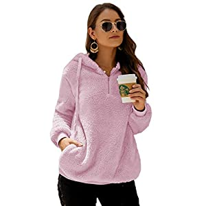 Angashion Womens Long Sleeve Half Zip Fuzzy Fleece Pullover Jacket Outwear Sweatshirt Tops Coat with Pocket