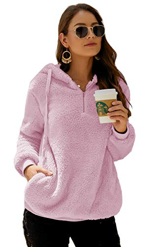 Angashion Womens Sweatshirt - Long Sleeve 1/4 Zip Up Faux Fleece Pullover Hoodies Coat Tops Outwear with Pocket 169 Dark Pink - Top Fleece Pink
