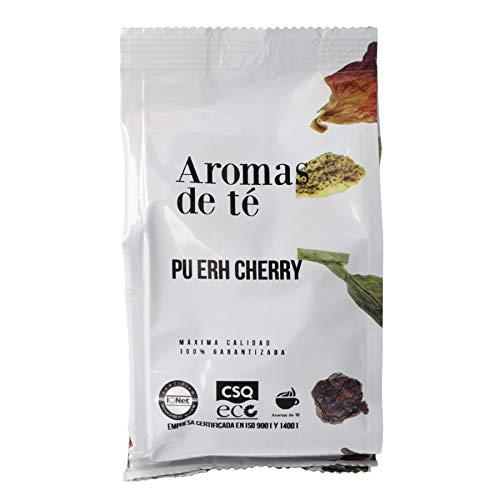 Aromas de Te - Te Rojo Pu Erh Cherry con Cereza Japonesa Sabor Caramelos de Kojak con Petalos de Rosas y Hojuelas de Cereza a Granel, 100 gr