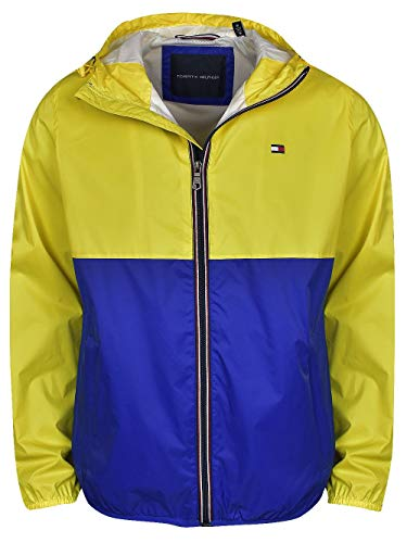 - Tommy Hilfiger- Colorblocked Logo Rain Jacket Yellow/Navy Size Medium