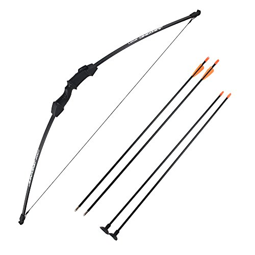 Sinoart 45″ Archery Bow and Arrow Set Start Recurve Bow Outdoor Sports Game Hunting Toy Gift Bow Kit Set with 4 Arrows 18 Lb for Teens