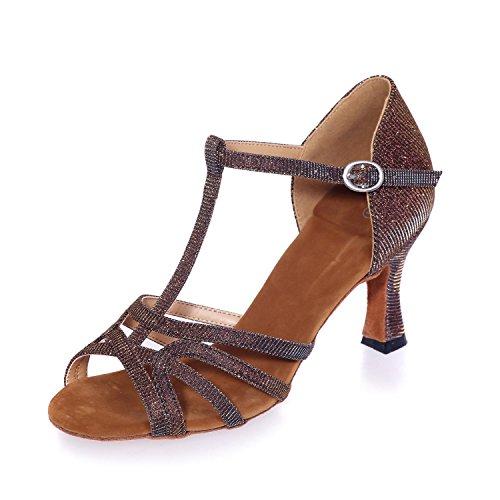 Marron Personnalisé brown Satin Latine De Bleu Danse De Verges avec Peut Chaussures êTre L Des YC Or De Rouge Grandes Salle argent Bal Noir Femmes 7qF1RaAS
