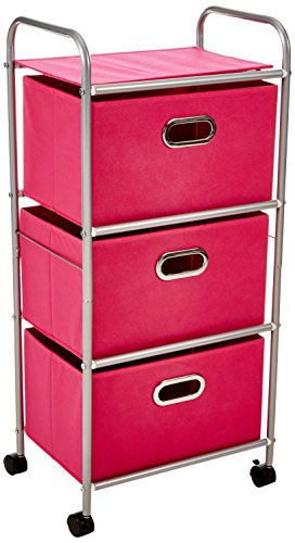 48 Fabric Rolling Cart with 3 Drawers, Pink ()