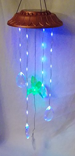 New Color Changing Hummingbird with Hanging Jewel Teardrop Prisms Hanging Solar Mobile Light Lights -