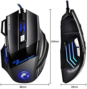 Redcolourful Wired Gaming Mouse 7 Button 5500 DPI LED Optical USB Computer Mouse Game Mouse Silent Mause for PC Yellow