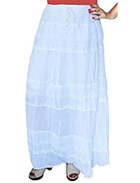 Maple Clothing Solid Embroidered Gypsy Bohemian Full Maxi Long Cotton Skirt