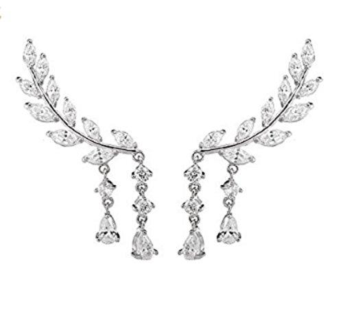 TNF Fashion Zircon Leaf Leaves Stud Earring Modern Style Beautiful Silver Alloy Party Earrings