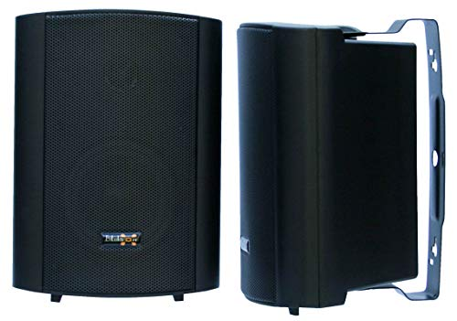 E-Lektron EWL5P Stereo passieve luidsprekers paar incl. wandhouder voor binnen en buiten – 5″ 125W – zwart