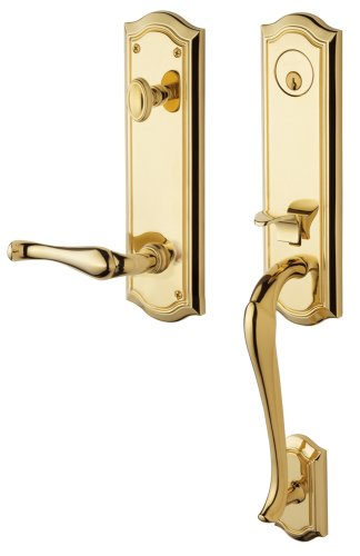 - Baldwin 85337.003.RENT Bethpage Emergency Exit Right Hand Handleset with Bethpage Lever, Lifetime Polished Brass
