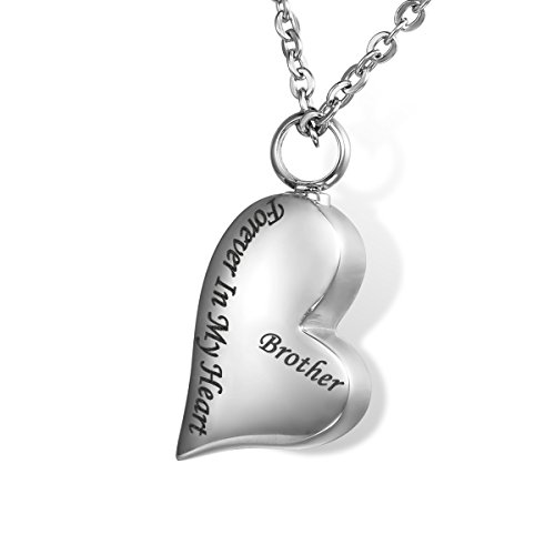 HOUSWEETYForever in My Heart Brother Cremation Jewelry Keepsake Memorial Urn Necklace