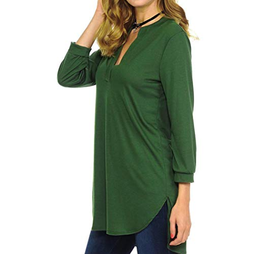 Col Couleur Confortable Chemisier Grande Mesdames DTendu Cent Mode LULIKA T Vert DContract Shirt V Sept Unie 8qwIcv
