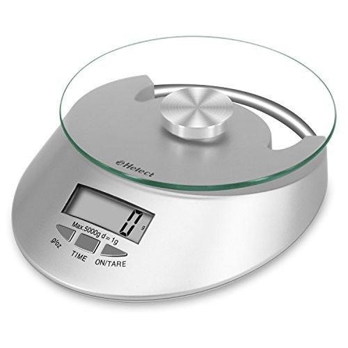 Helect H-1011- Báscula de Cocina, Superficie de Vidrio Templado, Escala de Alimentos Multifunción, Pantalla LCD Digital y Función de Tara, Peso límite 5kg
