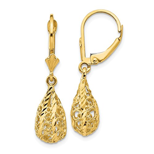 ICE CARATS 14k Yellow Gold Filigree Drop Dangle Chandelier Leverback Earrings Lever Back Fine Jewelry Ideal Mothers Day Gifts For Mom Women Gift Set From Heart - Ice Dangle