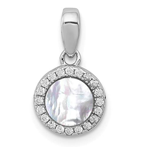 - Jewelry Pendants & Charms Natural Stone Sterling Silver Rhodium-plated Mother of Pearl and CZ Circle Pendant