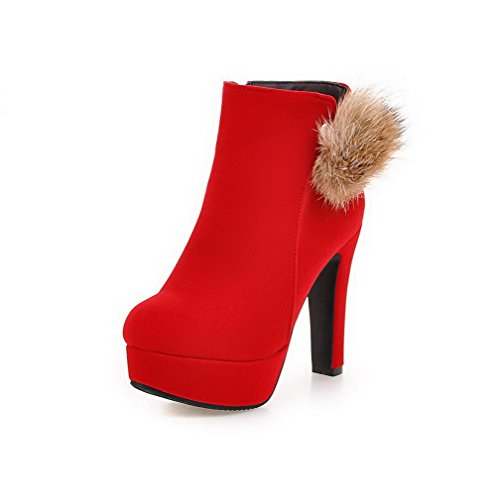 Closed AmoonyFashion Toe Boots High Zipper Round Solid Red Frosted Womens Heels z7qaWRnIq