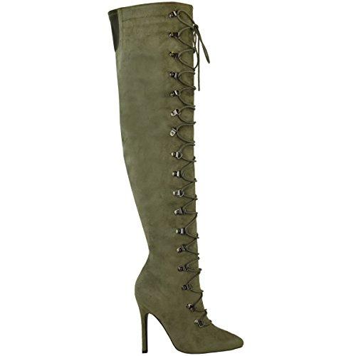 Genou Bottes Dessus Femmes Aiguille Chaussures Bas Au Talon Du wxxSq67Rf