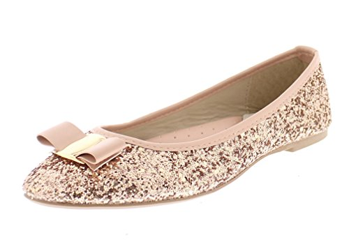 Gold Toe Women's Tempest Metallic Sequin Sparkle Ballet Flat Slipon Dress Pump Bow Ballerina Skimmer Shoe Pink 7 US (Leather Metallic Ballet Flats)