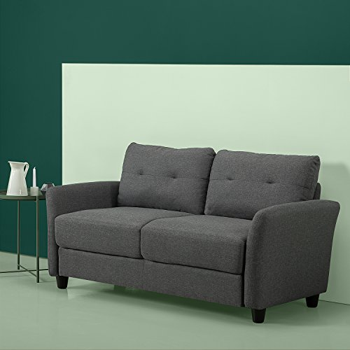 Zinus Contemporary Upholstered 62in Sofa Couch / Loveseat, Dark - Set Loveseat Fabric Sofa