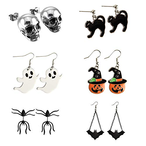 KUUQA 6 Pairs Halloween Earrings, Pumpkin Skeleton Skull Head Bat Spider Ghost Black Cat Charm Ear Stud Earrings Jewelry Set Halloween Party Decorations