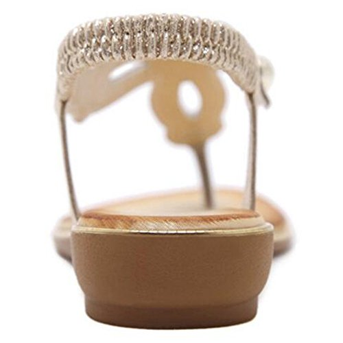 XIAOLIN レディースサマーフラットサンダルシューズキラキラ春夏の靴サンダルローヒールオープントゥゴールド、シルバーとブラック(オプションのサイズ) (色 : ゴールド, サイズ さいず : EU39/UK6.0/CN39)