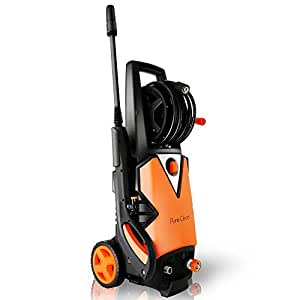 Serenelife Electric Pressure Washer - Powerful Heavy Duty 2000PSI Manual Adjustable High Low Cold Water Sprayer System & Rolling Wheels - Power Wash Spray Clean Concrete Driveway Car Home SLPRWAS56