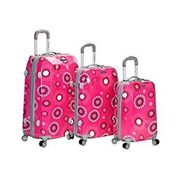 Image of Luggage Rockland Luggage Vision Polycarbonate 3 Piece Luggage Set, Pink Pearl, One Size